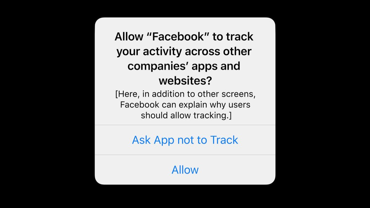 Screenshot of iOS 14 App Tracking Dialog