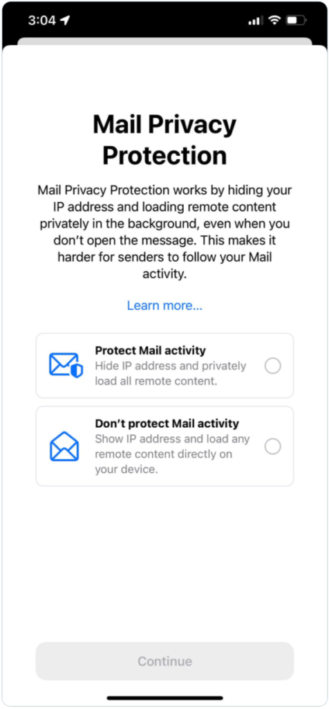 Screenshot of Apple Mail Privacy Protection